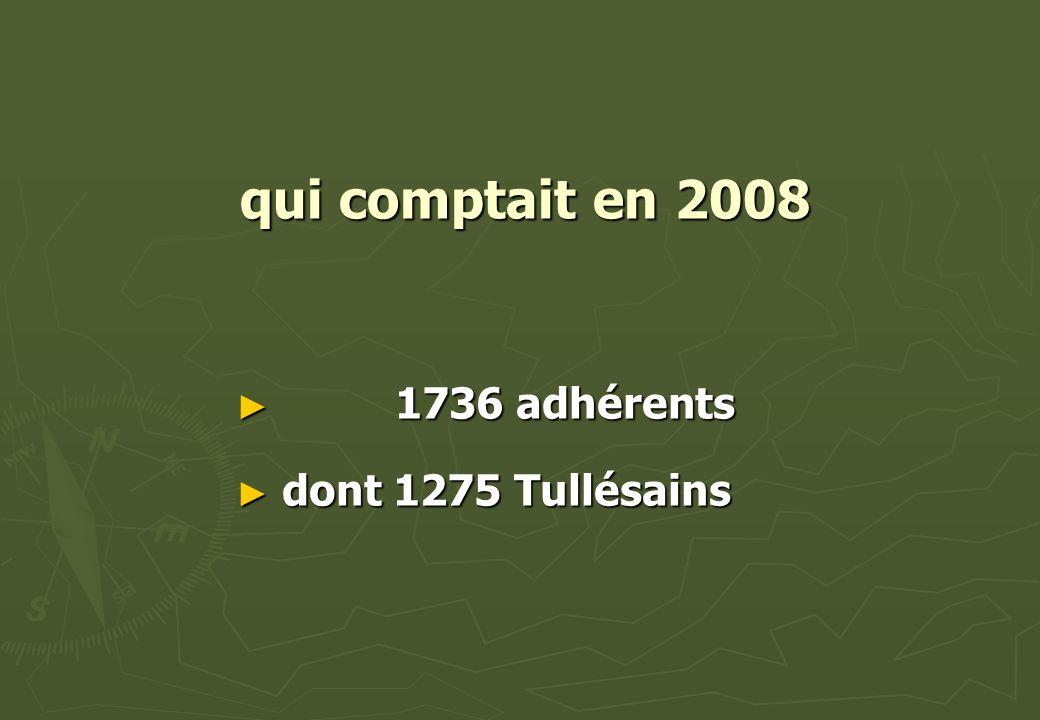 qui comptait en 2008 1 1736 adhérents d dont 1275 Tullésains