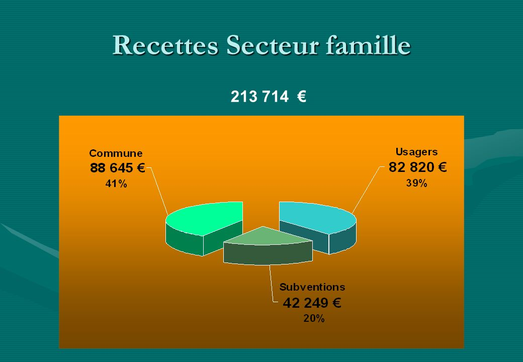 Recettes Secteur famille 213 714