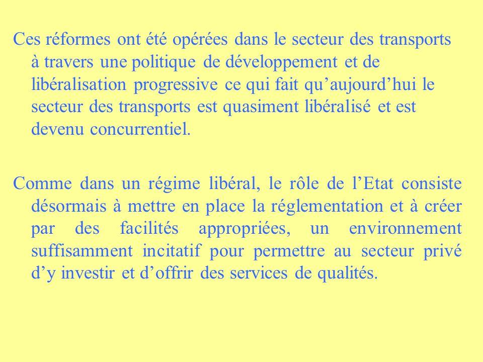 Ces réformes ont été opérées dans le secteur des transports à travers une politique de développement et de libéralisation progressive ce qui fait quaujourdhui le secteur des transports est quasiment libéralisé et est devenu concurrentiel.