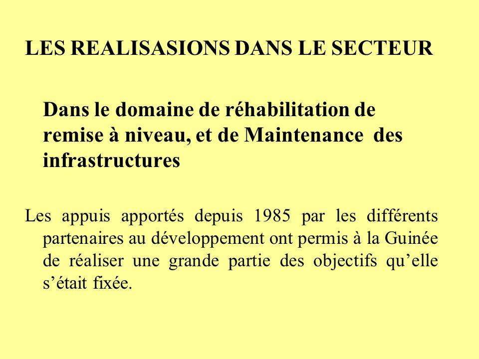 LES REALISASIONS DANS LE SECTEUR Dans le domaine de réhabilitation de remise à niveau, et de Maintenance des infrastructures Les appuis apportés depuis 1985 par les différents partenaires au développement ont permis à la Guinée de réaliser une grande partie des objectifs quelle sétait fixée.
