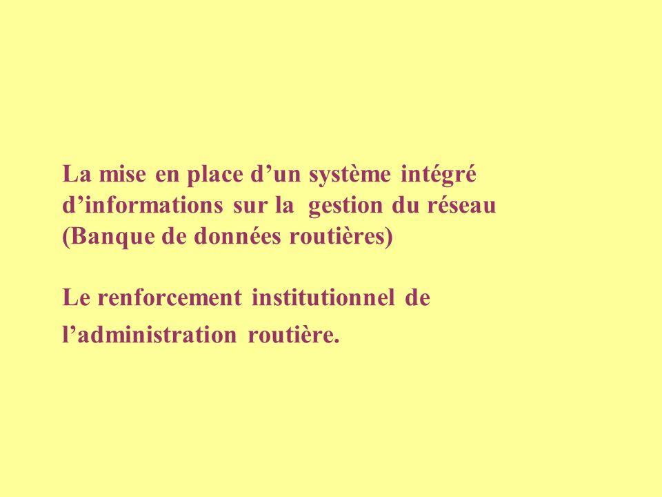 La mise en place dun système intégré dinformations sur la gestion du réseau (Banque de données routières) Le renforcement institutionnel de ladministration routière.