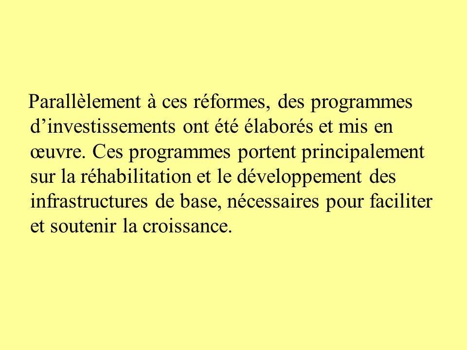 Parallèlement à ces réformes, des programmes dinvestissements ont été élaborés et mis en œuvre.