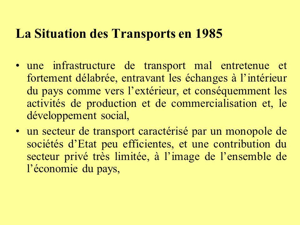 un cadre institutionnel dopération du secteur insuffisamment développé et peu adapté à la nouvelle politique économique, une administration des transports insuffisamment structurée et qualifiée, nécessitant une adaptation à la gestion dun secteur libéralisé.