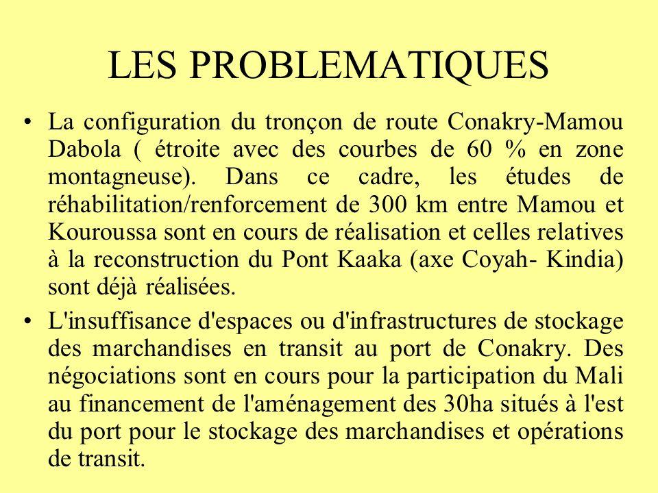 LES PROBLEMATIQUES La configuration du tronçon de route Conakry-Mamou Dabola ( étroite avec des courbes de 60 % en zone montagneuse).