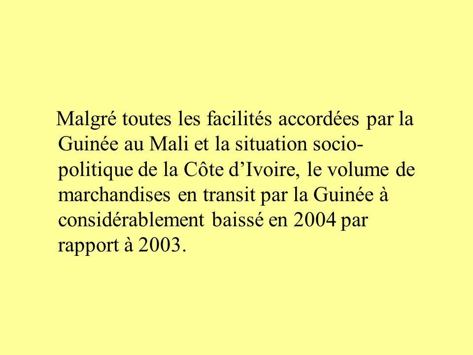 Malgré toutes les facilités accordées par la Guinée au Mali et la situation socio- politique de la Côte dIvoire, le volume de marchandises en transit par la Guinée à considérablement baissé en 2004 par rapport à 2003.