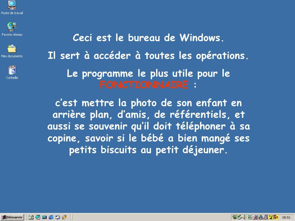 Ceci est le bureau de Windows. Il sert à accéder à toutes les opérations.