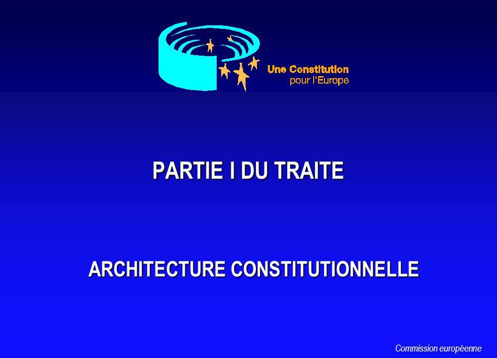 PARTIE I DU TRAITE PARTIE I DU TRAITE ARCHITECTURE CONSTITUTIONNELLE ARCHITECTURE CONSTITUTIONNELLE Commission européenne
