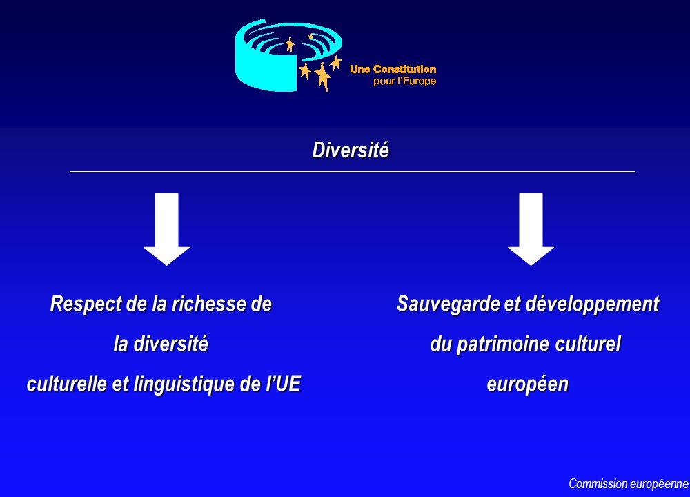 Diversité Respect de la richesse de la diversité culturelle et linguistique de lUE Sauvegarde et développement du patrimoine culturel européen Commiss