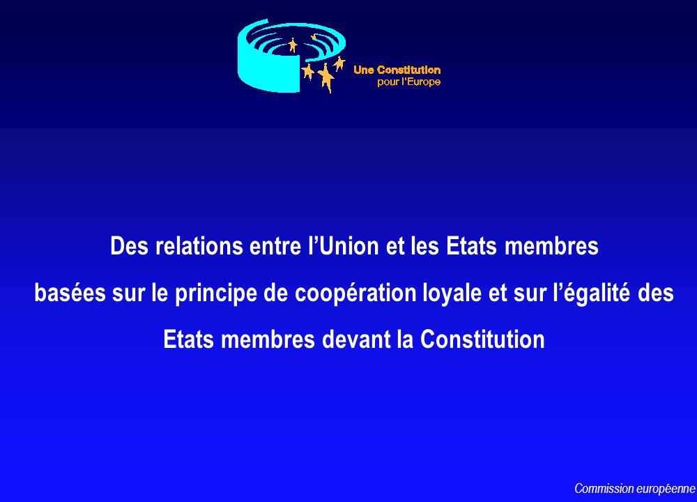 Des relations entre lUnion et les Etats membres basées sur le principe de coopération loyale et sur légalité des Etats membres devant la Constitution