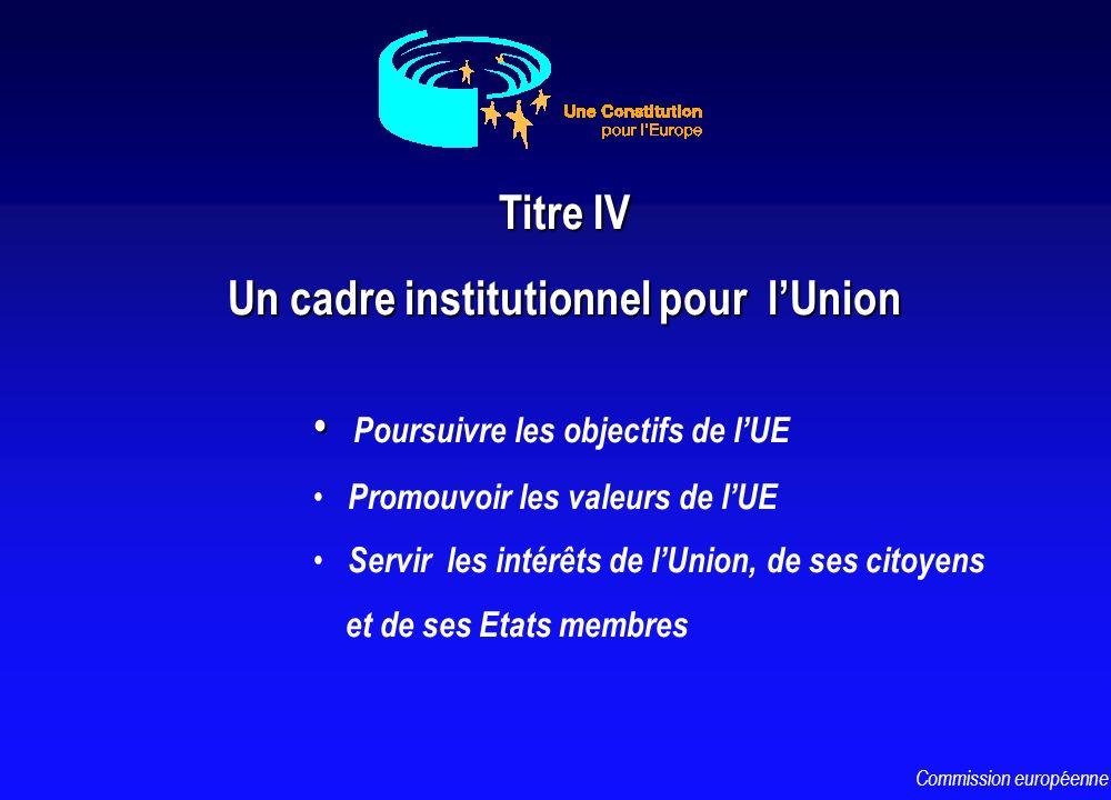 Poursuivre les objectifs de lUE Promouvoir les valeurs de lUE Servir les intérêts de lUnion, de ses citoyens et de ses Etats membres Titre IV Un cadre