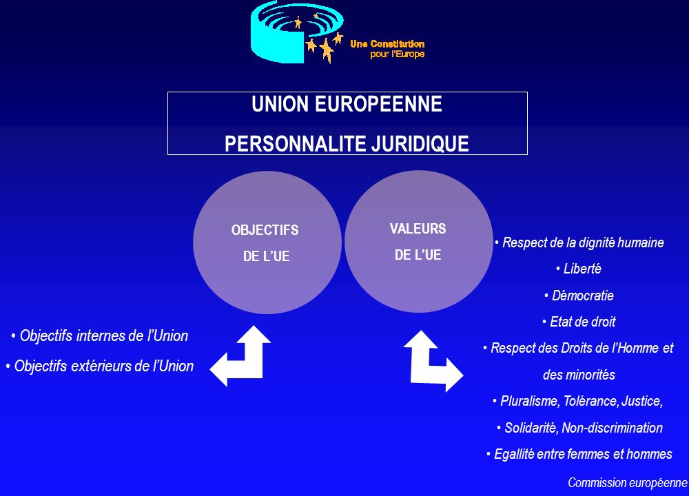 Des objectifs multiples La promotion de la paix, des valeurs de lUE, du bien-être de ses peuples Les objectifs internes de lUnion Les objectifs extérieurs de lUnion Commission européenne