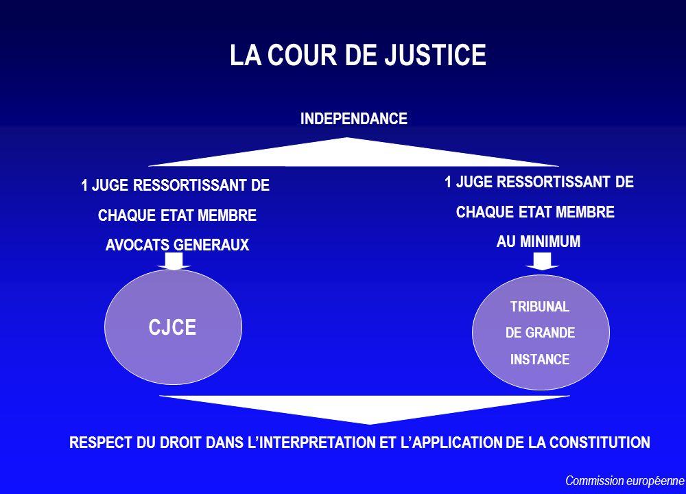LA COUR DE JUSTICE CJCE TRIBUNAL DE GRANDE INSTANCE RESPECT DU DROIT DANS LINTERPRETATION ET LAPPLICATION DE LA CONSTITUTION 1 JUGE RESSORTISSANT DE C