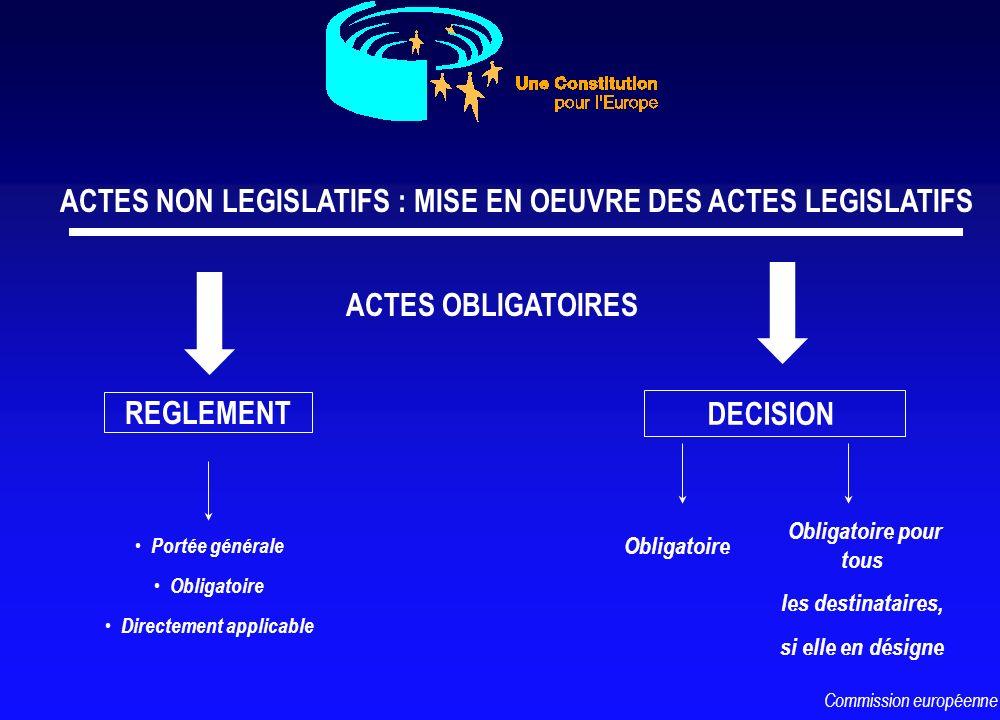 ACTES NON LEGISLATIFS : MISE EN OEUVRE DES ACTES LEGISLATIFS REGLEMENT DECISION Portée générale Obligatoire Directement applicable Obligatoire pour to