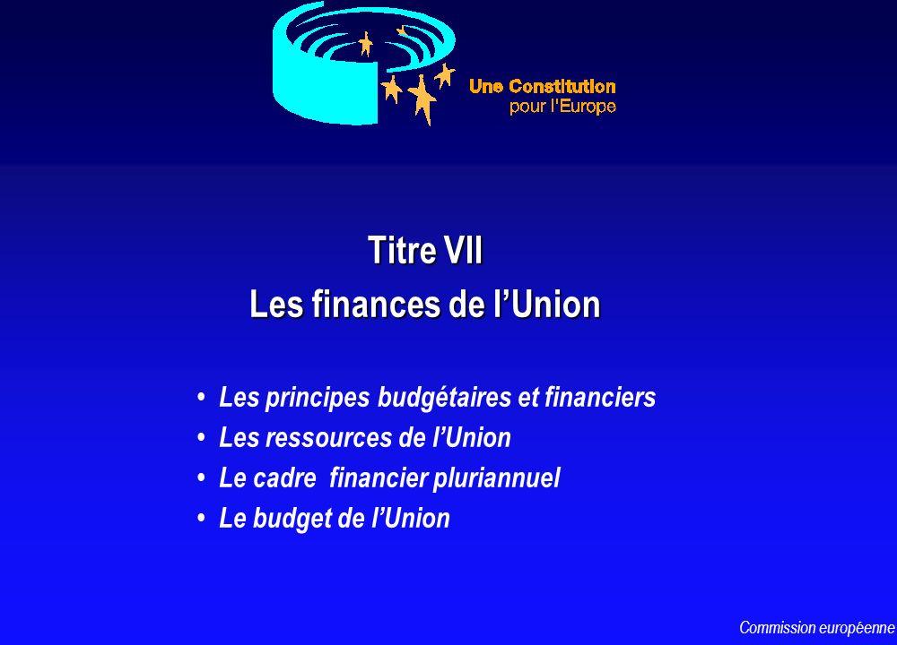 Titre VII Les finances de lUnion Les principes budgétaires et financiers Les ressources de lUnion Le cadre financier pluriannuel Le budget de lUnion C