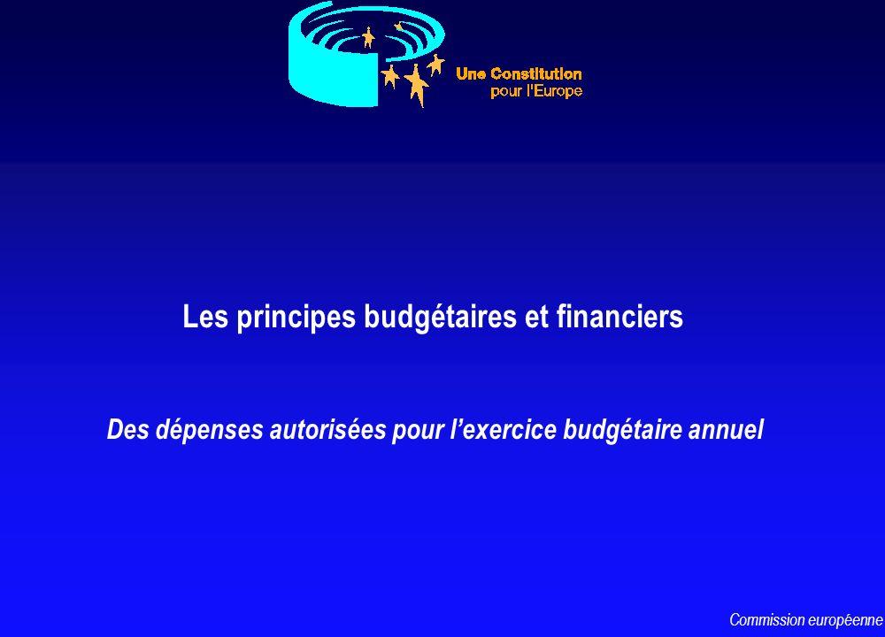 Les principes budgétaires et financiers Des dépenses autorisées pour lexercice budgétaire annuel Commission européenne