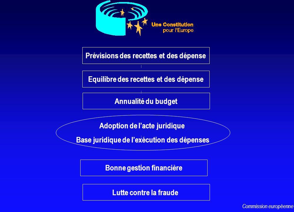 Prévisions des recettes et des dépense Equilibre des recettes et des dépense Adoption de lacte juridique Base juridique de lexécution des dépenses Bon