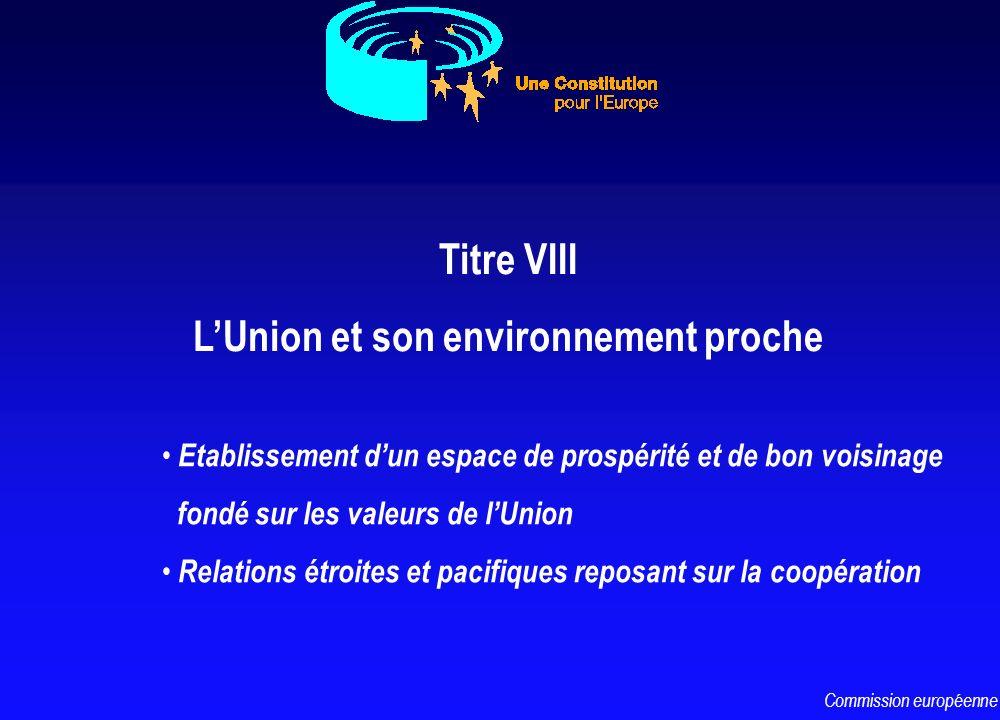 Titre VIII LUnion et son environnement proche Etablissement dun espace de prospérité et de bon voisinage fondé sur les valeurs de lUnion Relations étr