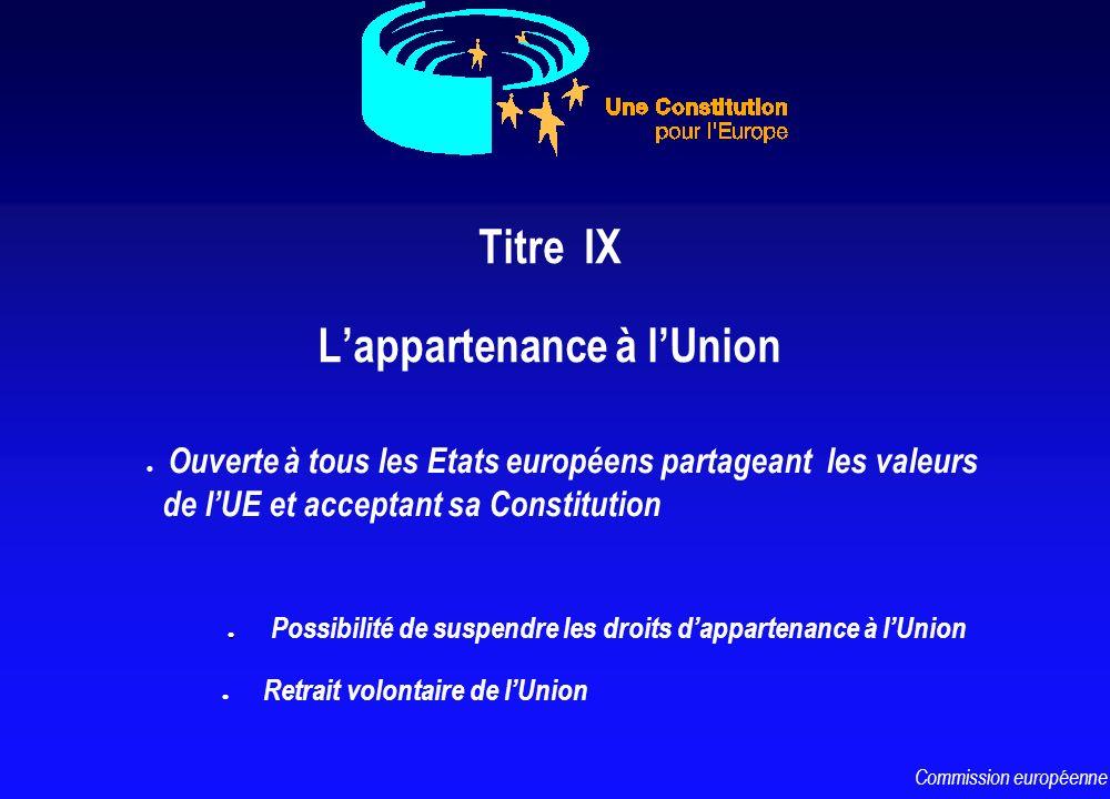 Titre IX Lappartenance à lUnion l l Possibilité de suspendre les droits dappartenance à lUnion l Retrait volontaire de lUnion l Ouverte à tous les Eta