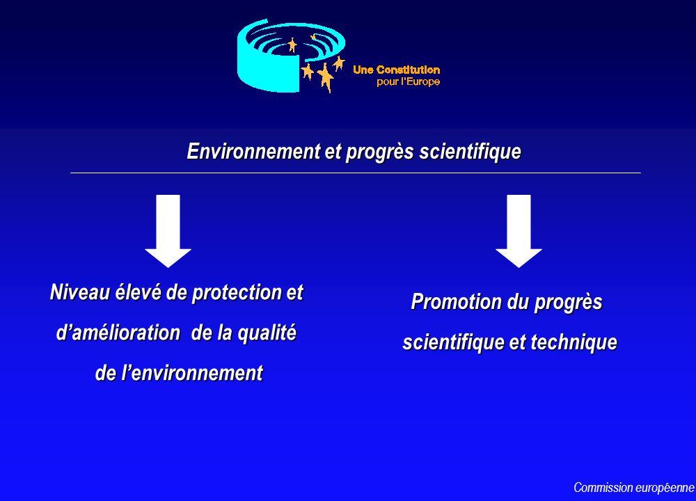 Niveau élevé de protection et damélioration de la qualité de lenvironnement Environnement et progrès scientifique Promotion du progrès scientifique et