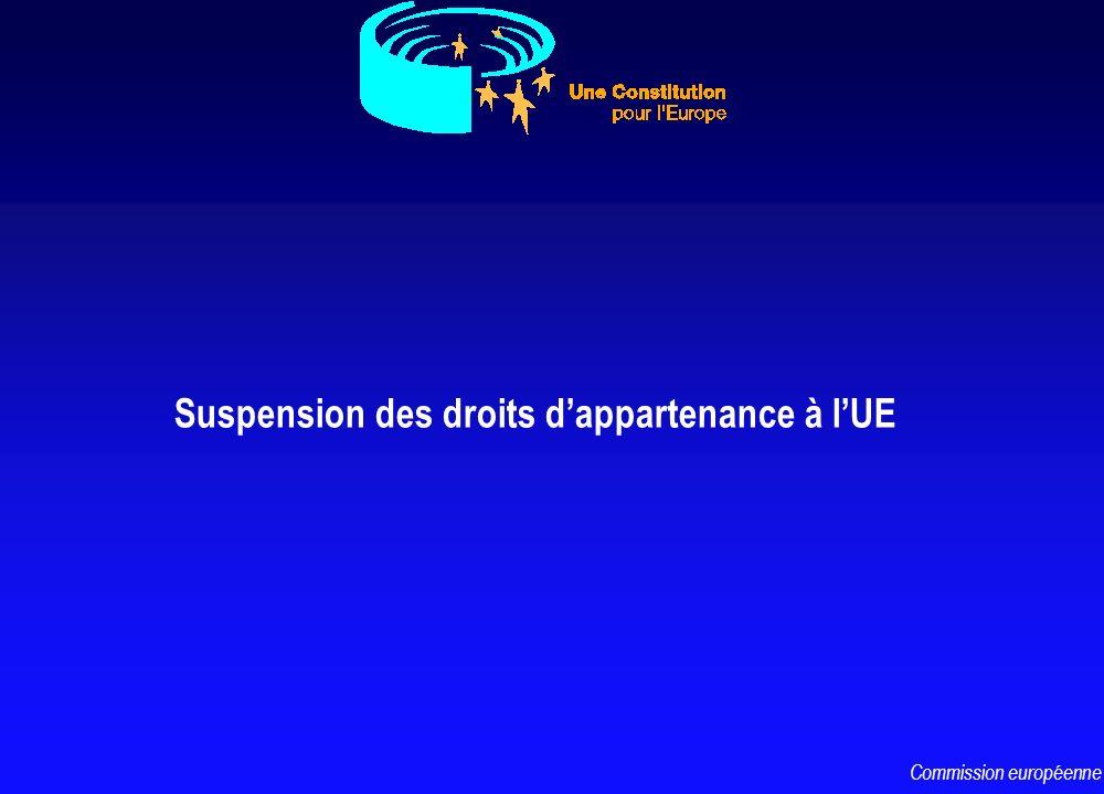 Suspension des droits dappartenance à lUE Commission européenne
