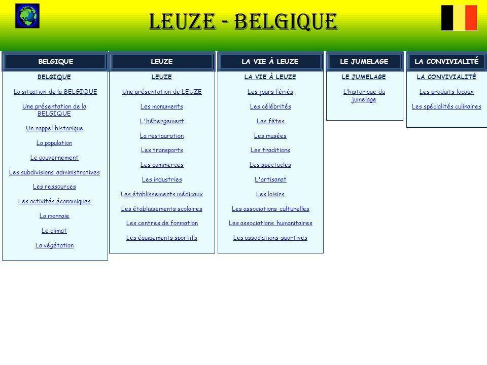 LES SUBDIVISIONS ADMINISTRATIVES La Belgique comprends : Trois régions : région wallonne (Wallonie) Leuze est en Wallonie région flamande (Flandre) Bruxelles-Capitale 10 provinces en Wallonie et en Flandre Leuze appartient à la province du Hainaut Un gouverneur est nommé par le gouvernement de la région.