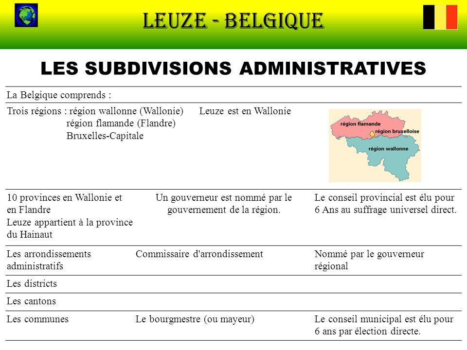 LES SUBDIVISIONS ADMINISTRATIVES La Belgique comprends : Trois régions : région wallonne (Wallonie) Leuze est en Wallonie région flamande (Flandre) Br