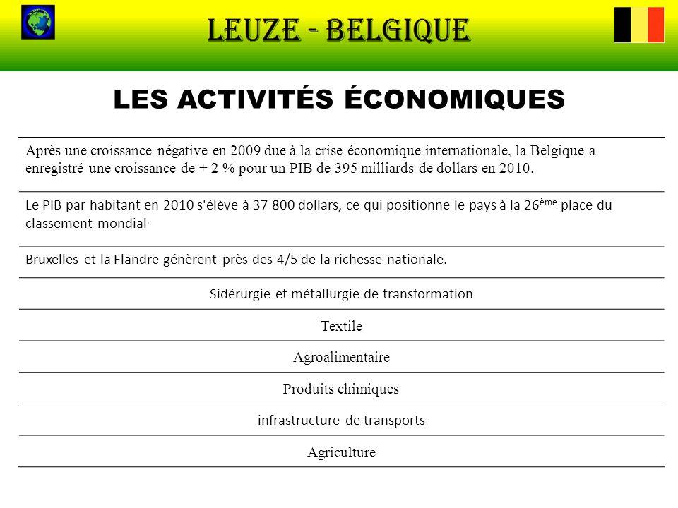 LES ACTIVITÉS ÉCONOMIQUES Après une croissance négative en 2009 due à la crise économique internationale, la Belgique a enregistré une croissance de +
