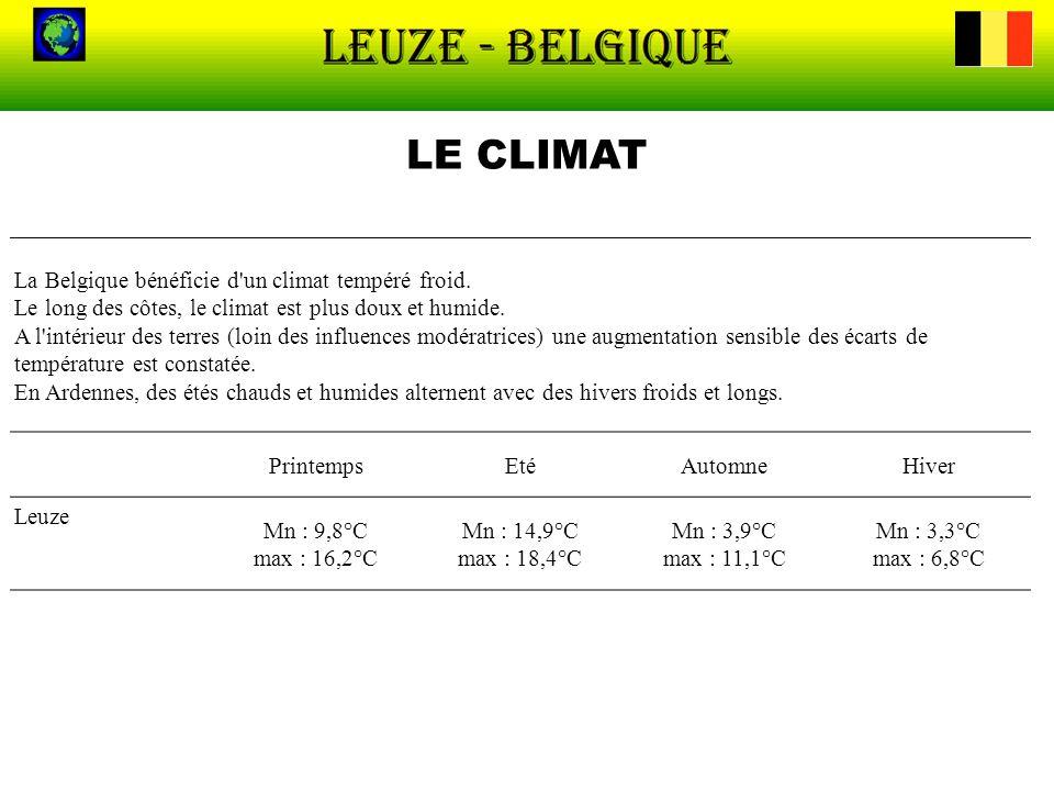 LE CLIMAT La Belgique bénéficie d'un climat tempéré froid. Le long des côtes, le climat est plus doux et humide. A l'intérieur des terres (loin des in