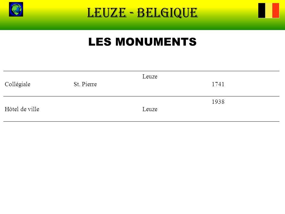 LES MONUMENTS CollégialeSt. Pierre Leuze 1741 Hôtel de villeLeuze 1938