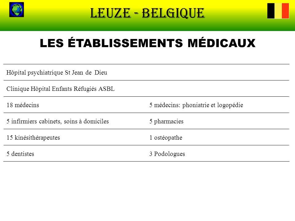 LES ÉTABLISSEMENTS MÉDICAUX Hôpital psychiatrique St Jean de Dieu Clinique Hôpital Enfants Réfugiés ASBL 18 médecins5 médecins: phoniatrie et logopédi