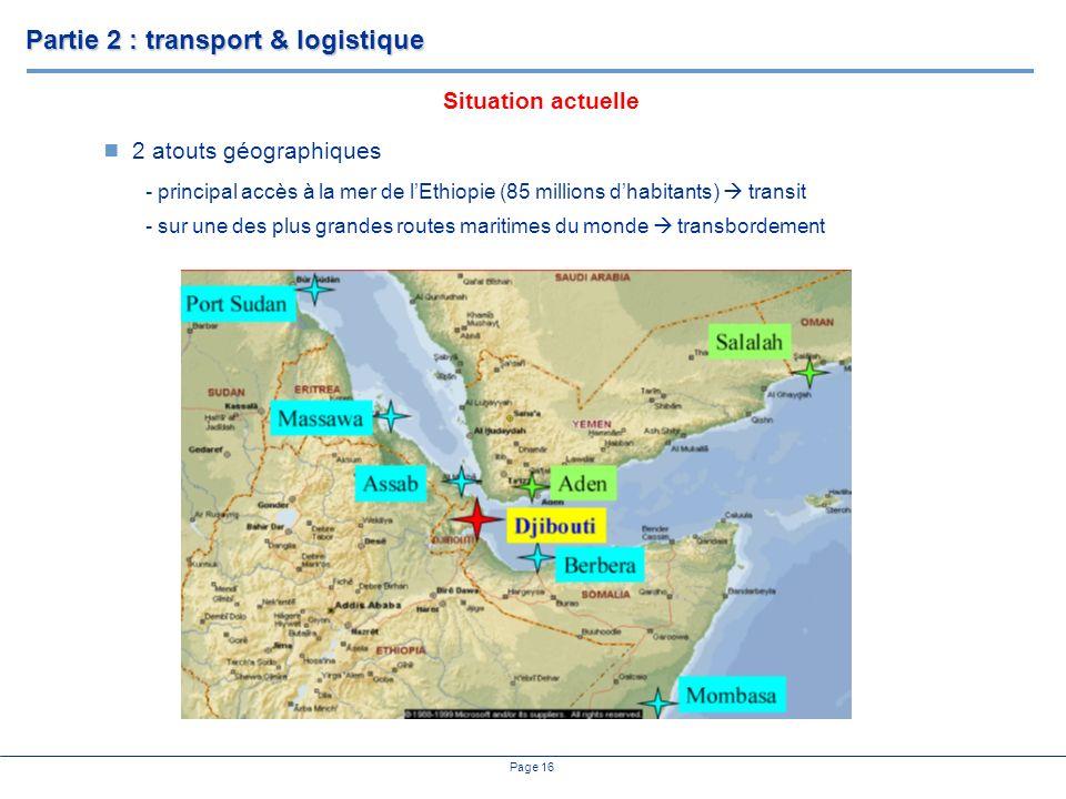Page 16 2 atouts géographiques - principal accès à la mer de lEthiopie (85 millions dhabitants) transit - sur une des plus grandes routes maritimes du monde transbordement Partie 2 : transport & logistique Situation actuelle