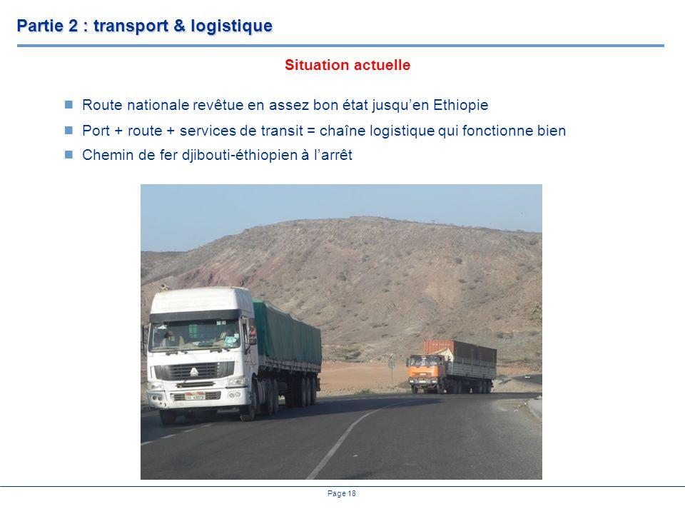 Page 18 Route nationale revêtue en assez bon état jusquen Ethiopie Port + route + services de transit = chaîne logistique qui fonctionne bien Chemin de fer djibouti-éthiopien à larrêt Situation actuelle Partie 2 : transport & logistique