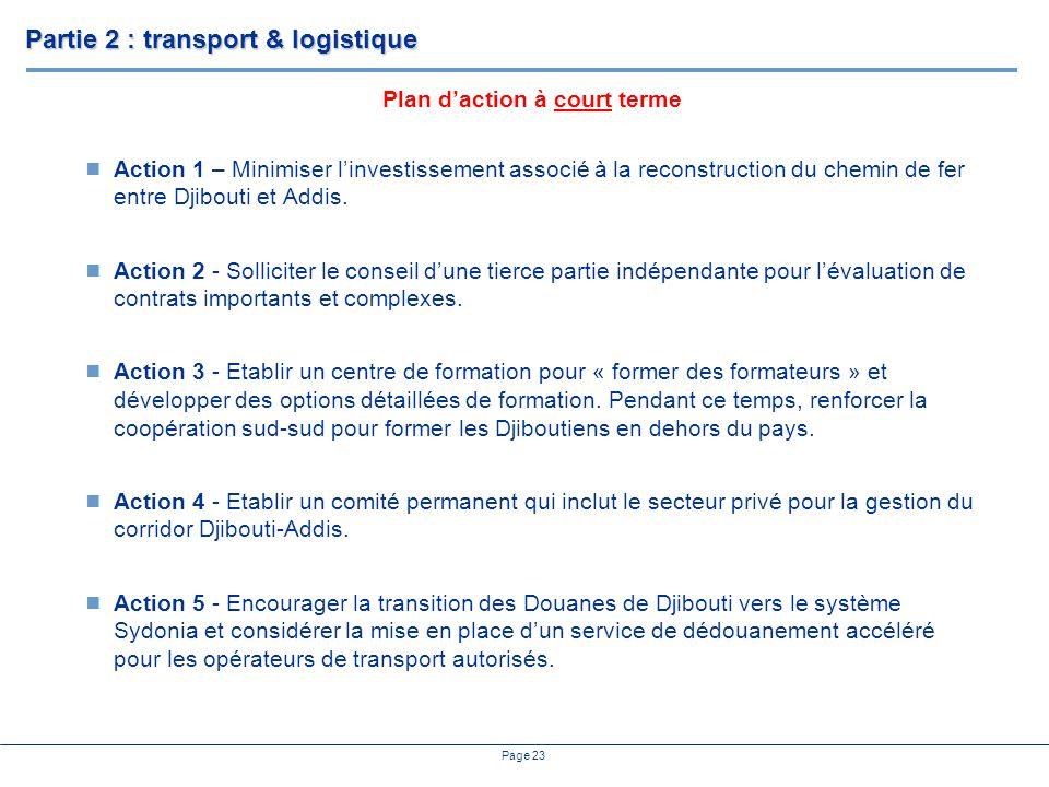 Page 23 Action 1 – Minimiser linvestissement associé à la reconstruction du chemin de fer entre Djibouti et Addis. Action 2 - Solliciter le conseil du