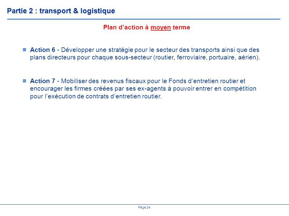 Page 24 Action 6 - Développer une stratégie pour le secteur des transports ainsi que des plans directeurs pour chaque sous-secteur (routier, ferroviaire, portuaire, aérien).