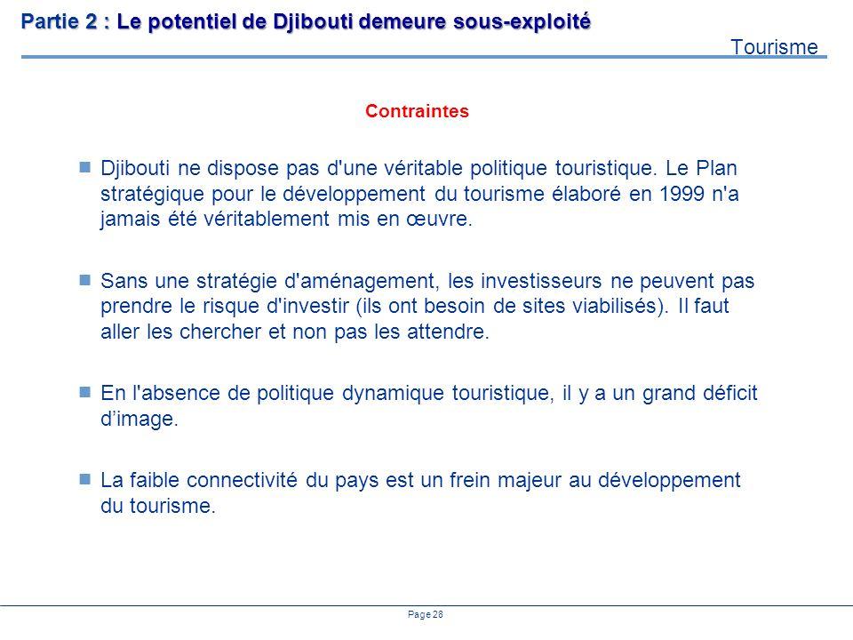 Page 28 Djibouti ne dispose pas d'une véritable politique touristique. Le Plan stratégique pour le développement du tourisme élaboré en 1999 n'a jamai