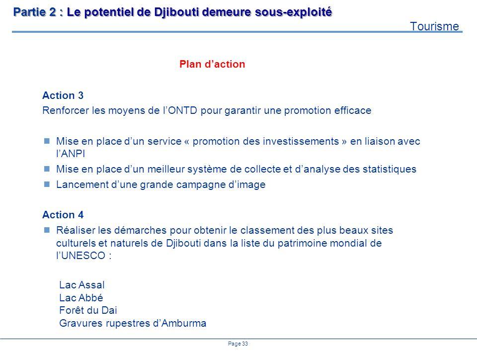 Page 33 Action 3 Renforcer les moyens de lONTD pour garantir une promotion efficace Mise en place dun service « promotion des investissements » en lia