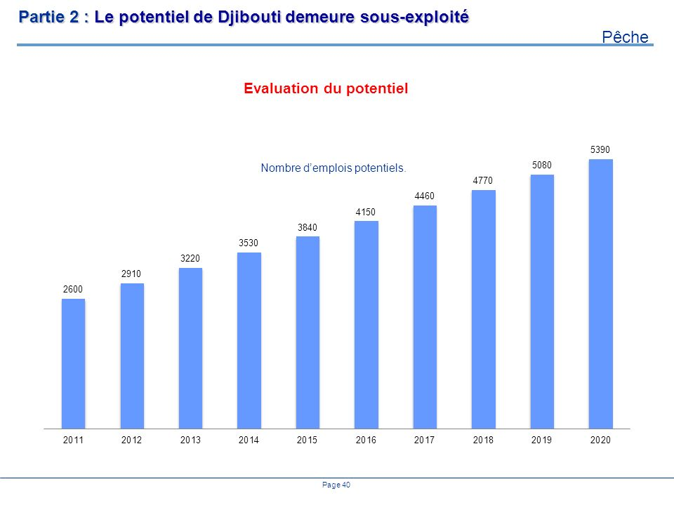 Page 40 Evaluation du potentiel Partie 2 : Le potentiel de Djibouti demeure sous-exploité Pêche Nombre demplois potentiels.