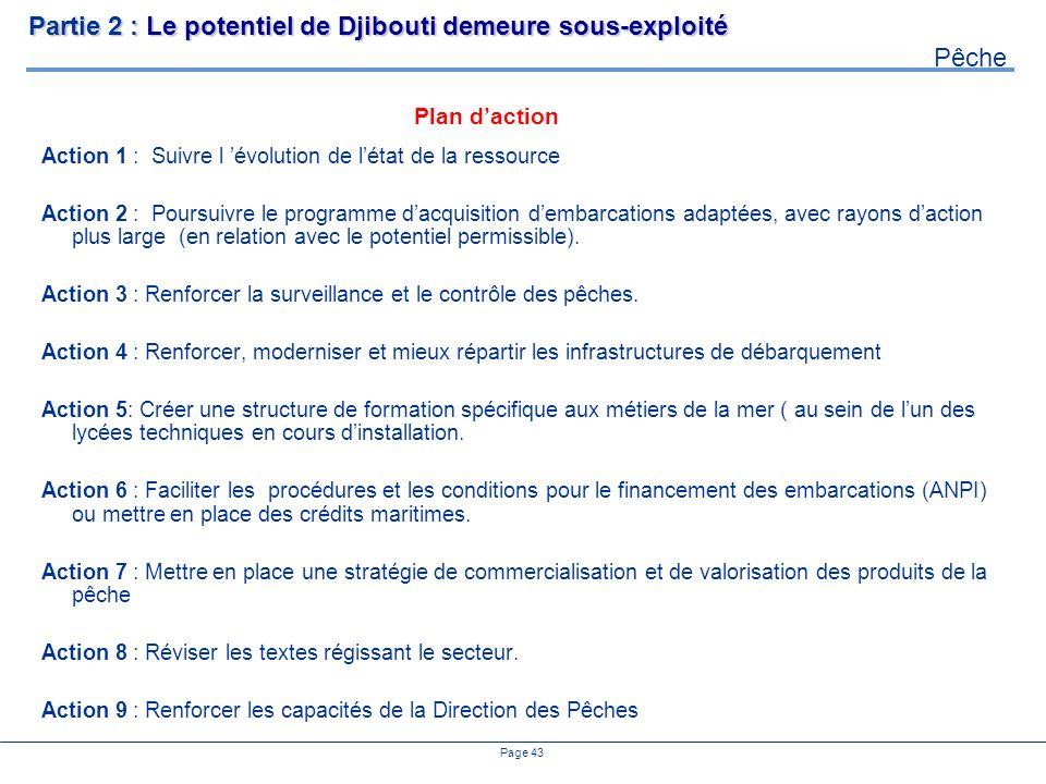 Page 43 Plan daction Partie 2 : Le potentiel de Djibouti demeure sous-exploité Pêche Action 1 : Suivre l évolution de létat de la ressource Action 2 : Poursuivre le programme dacquisition dembarcations adaptées, avec rayons daction plus large (en relation avec le potentiel permissible).