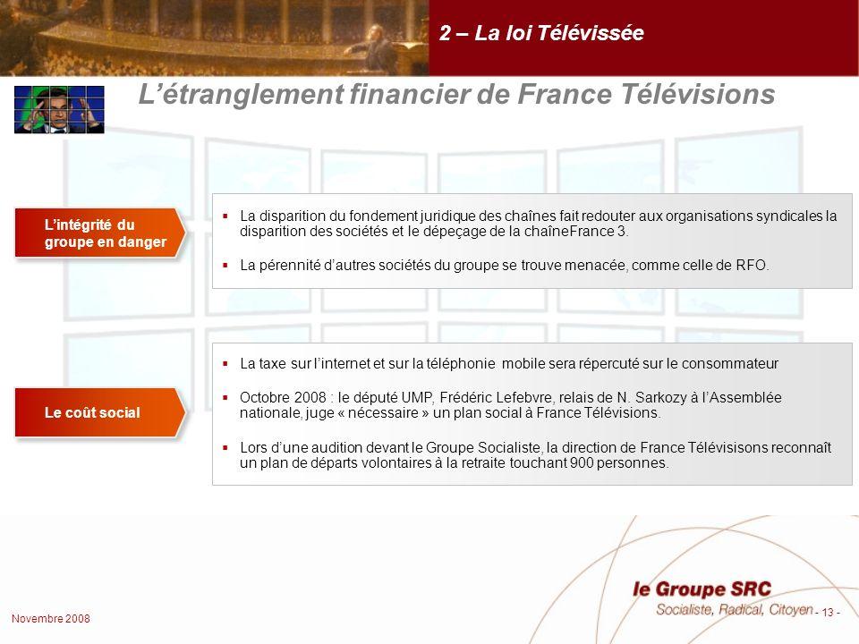 Novembre 2008 - 13 - 2 – La loi Télévissée Létranglement financier de France Télévisions Lintégrité du groupe en danger La disparition du fondement juridique des chaînes fait redouter aux organisations syndicales la disparition des sociétés et le dépeçage de la chaîneFrance 3.