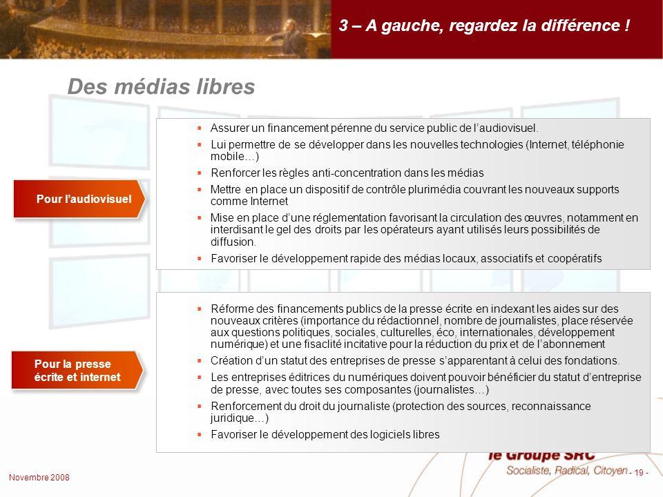 Novembre 2008 - 19 - Des médias libres 3 – A gauche, regardez la différence .