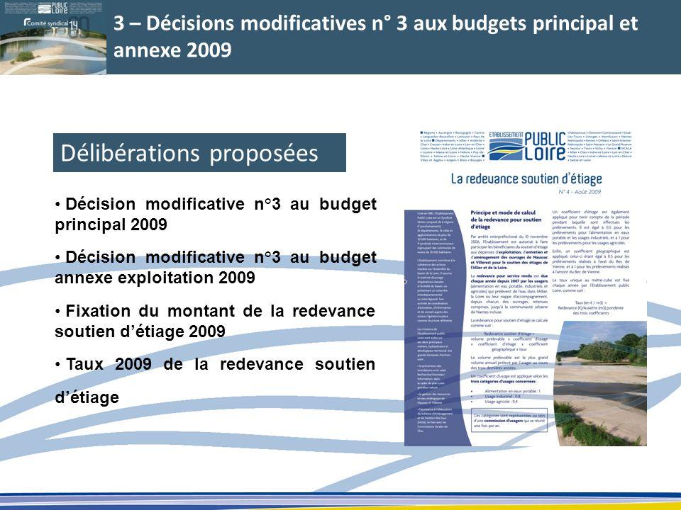 3 – Décisions modificatives n° 3 aux budgets principal et annexe 2009 Décision modificative n°3 au budget principal 2009 Décision modificative n°3 au