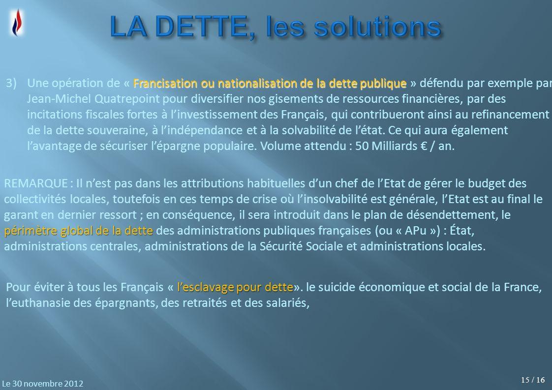 15 / 16 Le 30 novembre 2012 lesclavage pour dette Pour éviter à tous les Français « lesclavage pour dette». le suicide économique et social de la Fran