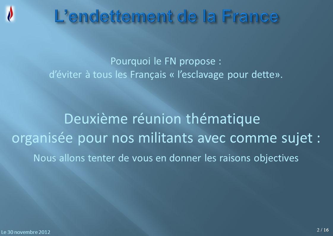 2 / 16 Le 30 novembre 2012 Deuxième réunion thématique organisée pour nos militants avec comme sujet : Pourquoi le FN propose : déviter à tous les Fra