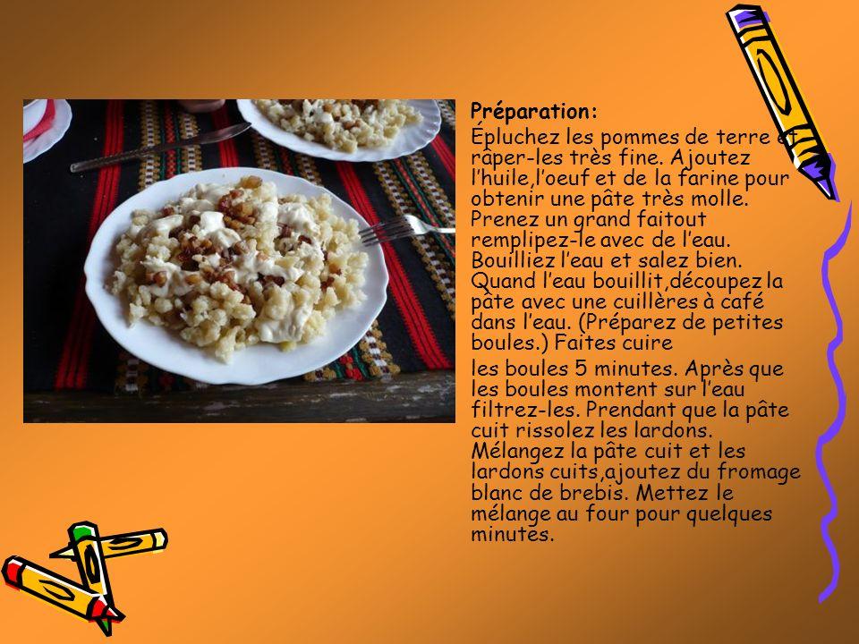Préparation: Épluchez les pommes de terre et râper-les très fine. Ajoutez lhuile,loeuf et de la farine pour obtenir une pâte très molle. Prenez un gra