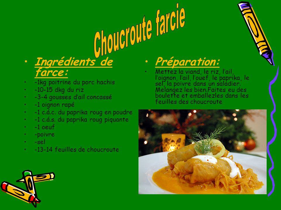 Ingrédients de farce: -1kg poitrine du porc hachis -10-15 dkg du riz -3-4 gousses dail concassé -1 oignon rapé -1 c.á.c. du paprika roug en poudre -1