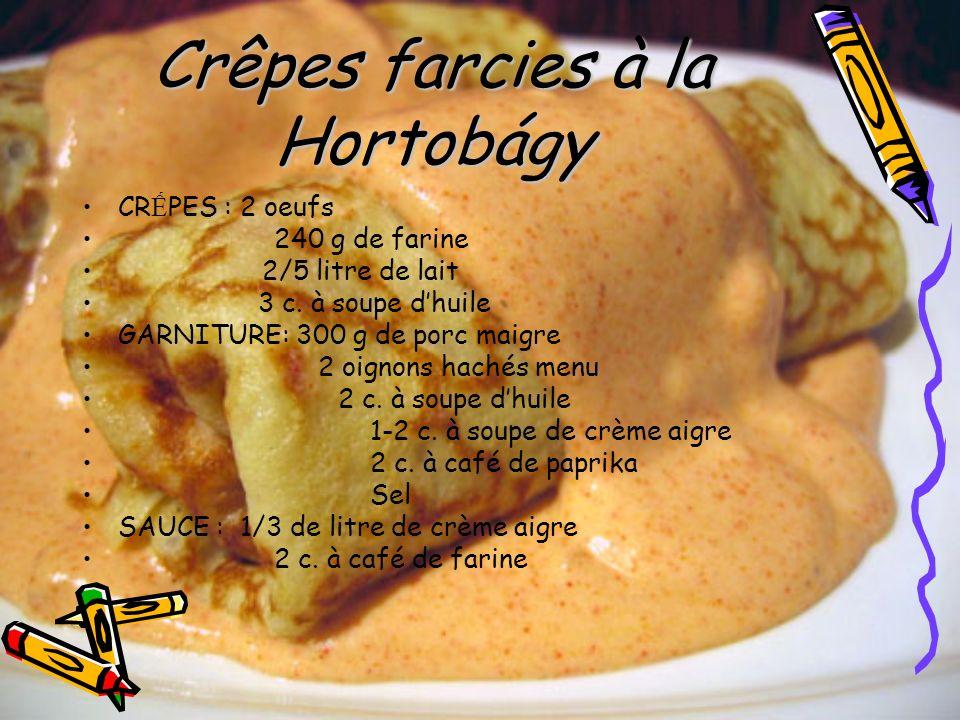 Crêpes farcies à la Hortobágy CR PES : 2 oeufs 240 g de farine 2/5 litre de lait 3 c. à soupe dhuile GARNITURE: 300 g de porc maigre 2 oignons hachés