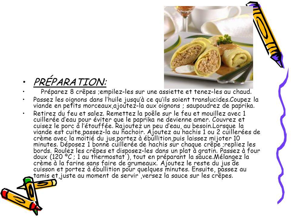 PRÉPARATION: Préparez 8 crêpes ;empilez-les sur une assiette et tenez-les au chaud. Passez les oignons dans lhuile jusquà ce quils soient translucides