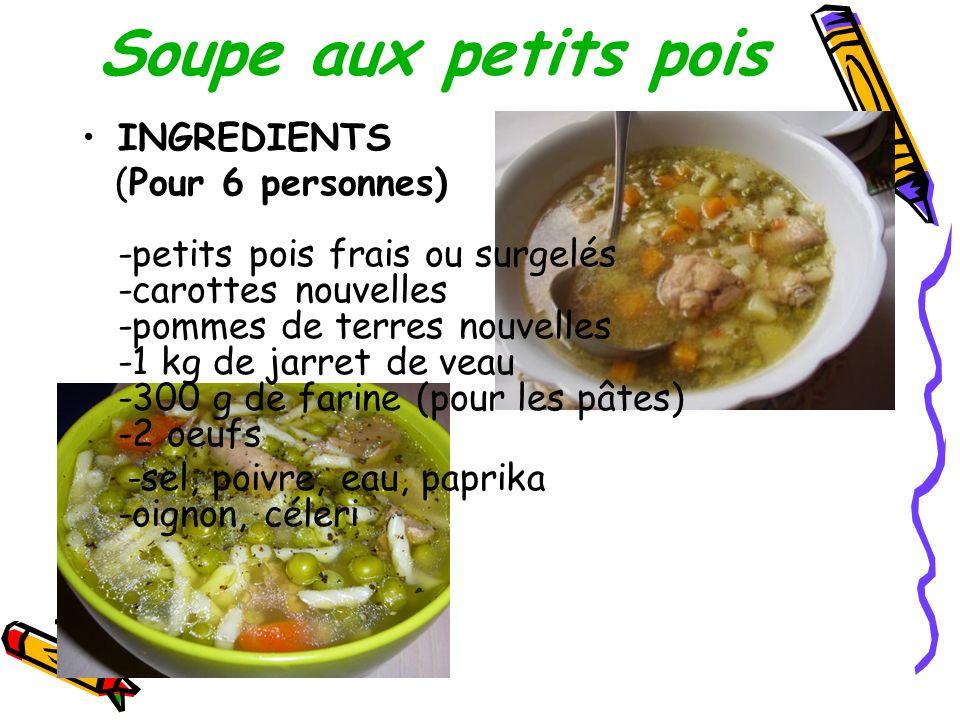 Soupe aux petits pois INGREDIENTS (Pour 6 personnes) -petits pois frais ou surgelés -carottes nouvelles -pommes de terres nouvelles -1 kg de jarret de