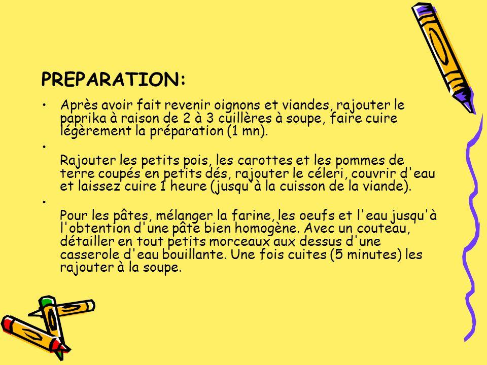 PREPARATION: Après avoir fait revenir oignons et viandes, rajouter le paprika à raison de 2 à 3 cuillères à soupe, faire cuire légèrement la préparati