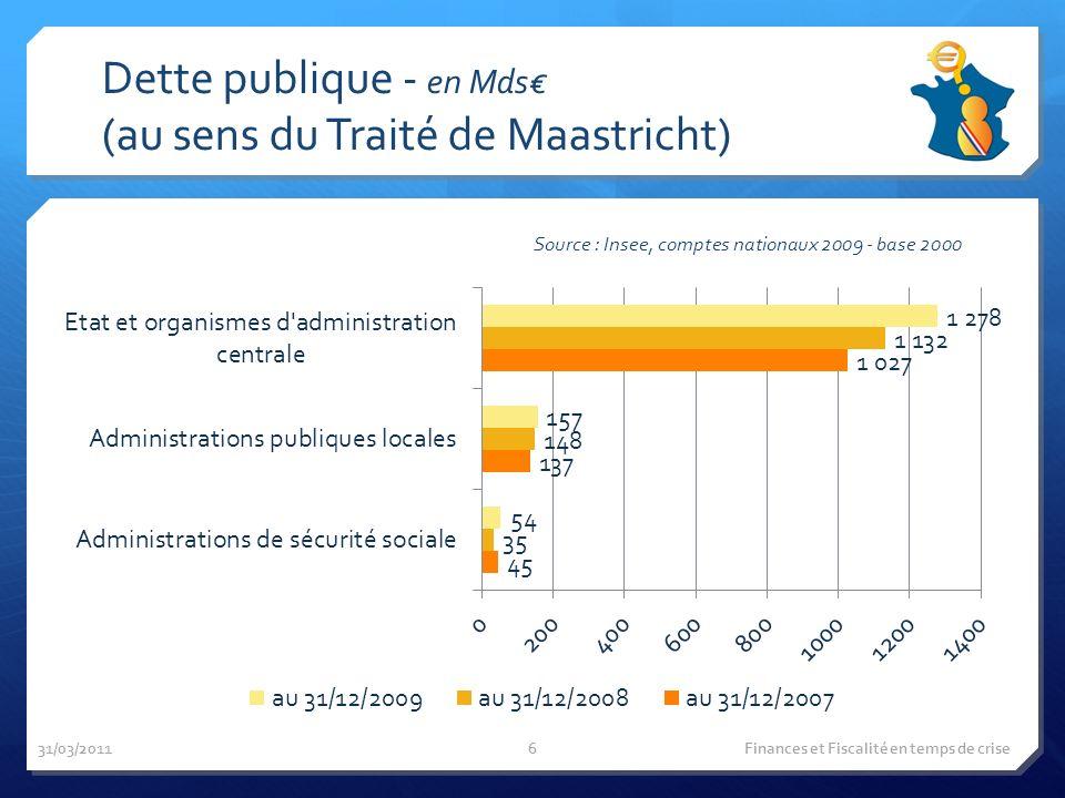 Dette publique - en Mds (au sens du Traité de Maastricht) Source : Insee, comptes nationaux 2009 - base 2000 31/03/2011 Finances et Fiscalité en temps